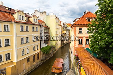 prague, cityscape, with, pleasure, boat, on - 28083383
