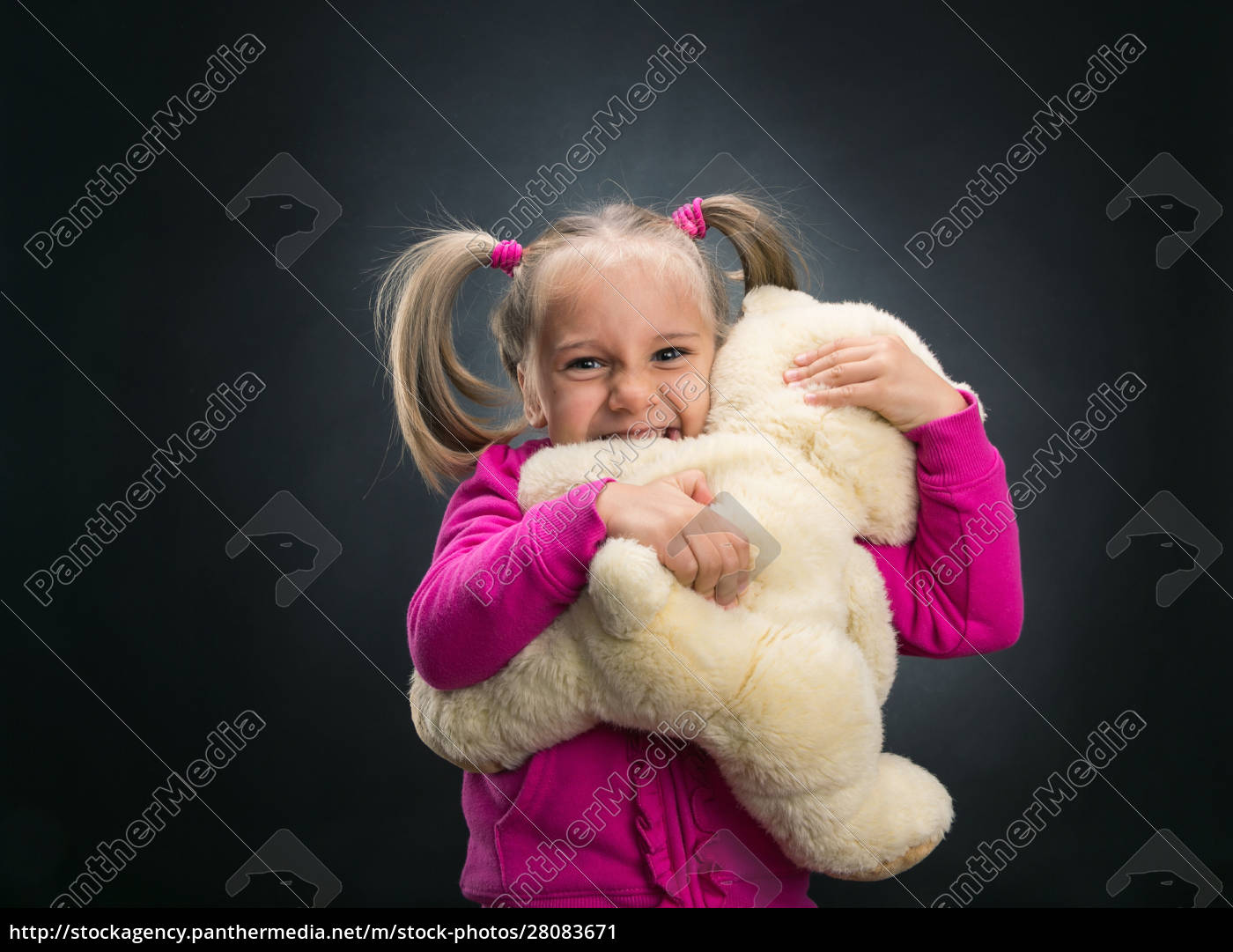 small, cute, girl, holds, toy, bear - 28083671