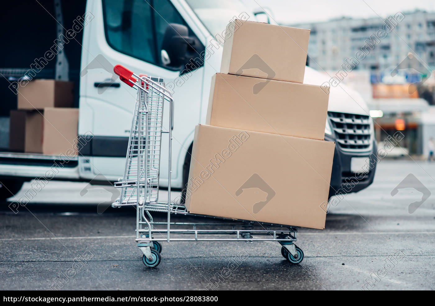 trolley, with, boxes, against, truck, , male - 28083800