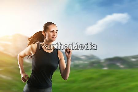 woman, running, on, green, grass - 28083288
