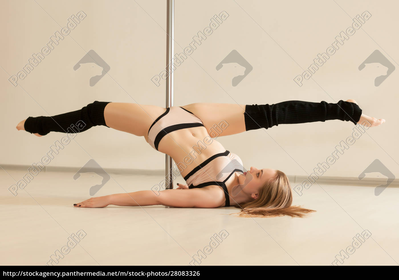 young, slim, poledance, woman, stretching, in - 28083326