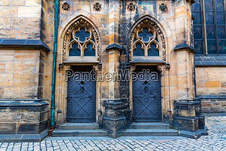 castle facade with doors ancient european