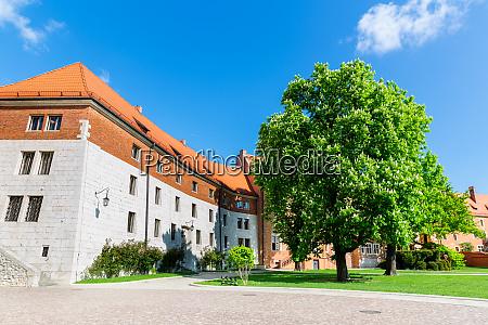 wawel castle yard nobody krakow poland