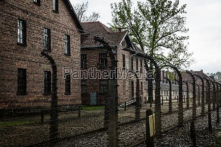 barracks of german concentration camp auschwitz