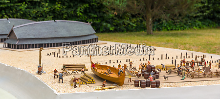 viking settlement miniature outdoor boat building