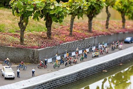 bike marathon on city street miniature