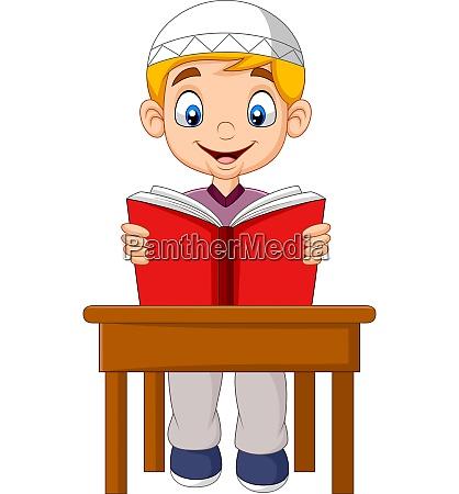cartoon muslim boy reading a book