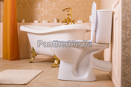 luxury sanitary equipment with gold elements