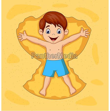 cartoon boy playing on sands