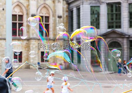 children and soap bubbles old european