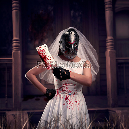 bride maniac in hockey mask with