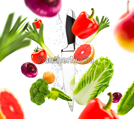 knife and fresh vegetables healthy lifestyle