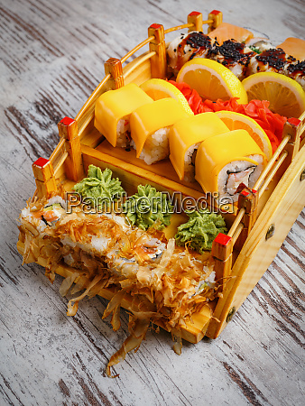 japanese and asian food sushi are