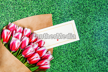 bouquet of red tulips for a