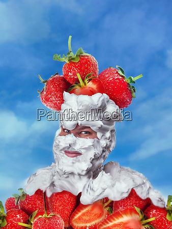 smiling man with whipped cream and