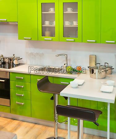 modern green kitchen clean interior design