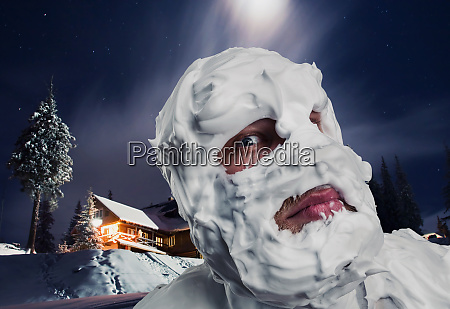 surprised man with shaving foam on