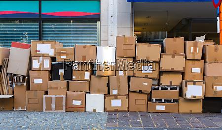 cartboard garbage boxes closeup european city