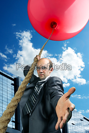 businessman inviting you to fly up