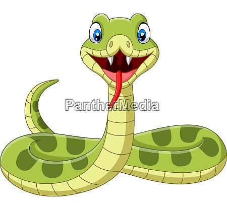 cute green snake cartoon on white