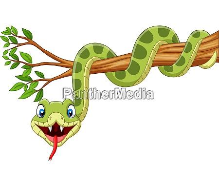 cartoon green snake on tree branch
