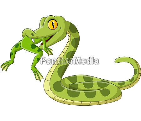 cartoon green snake eating a frog