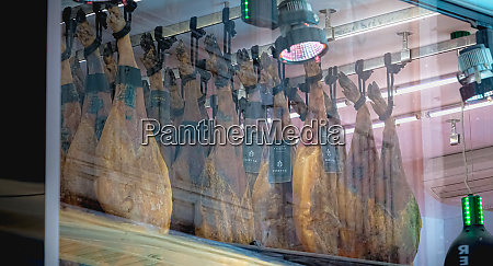typical spanish ham leg shop in