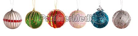 christmas balls in a row