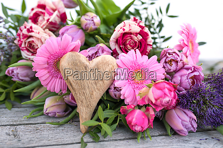 mothers day flowers on vintage wood