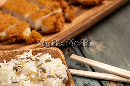 fried chicken with sunflower seeds