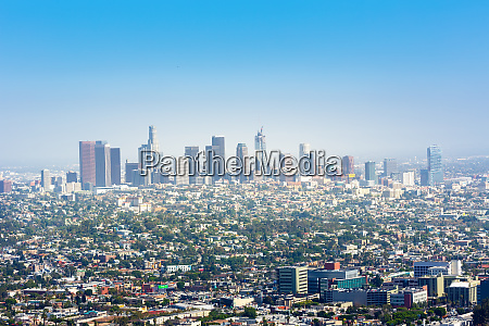 blue sky over los angeles downtown