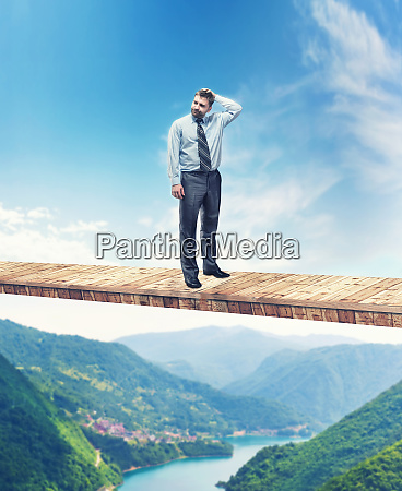 man on the bridge above the