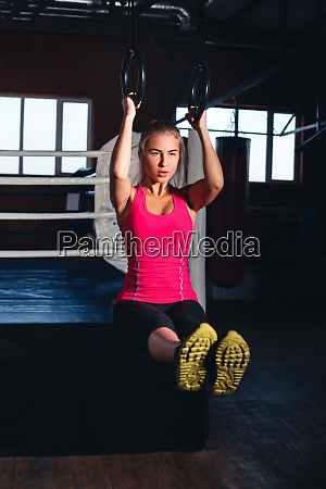 woman on gymnastic rings