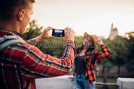 young woman poses on excursion in
