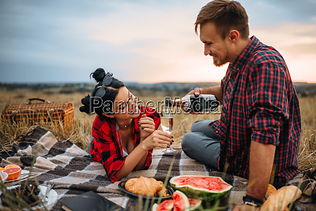 cute couple leisure together picnic on