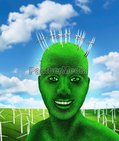 green humans head on nature