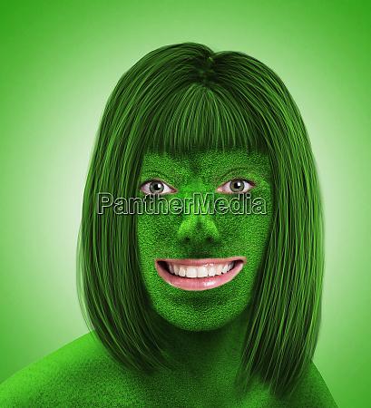 green female head on green