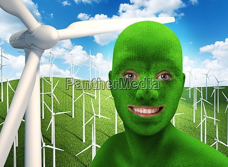 green humans face smiling on nature