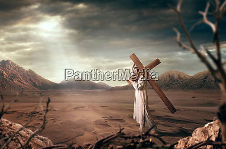 great martyr with cross in desert