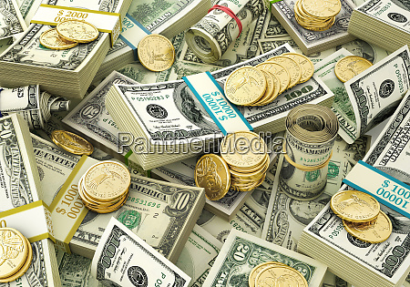 money mixed wads of usd banknotes