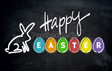 happy easter and easter bunny on