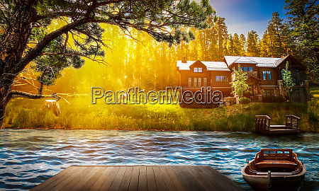 tranquil nature landscape forest house background