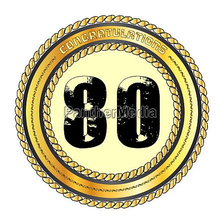 eighty gold congratulations border