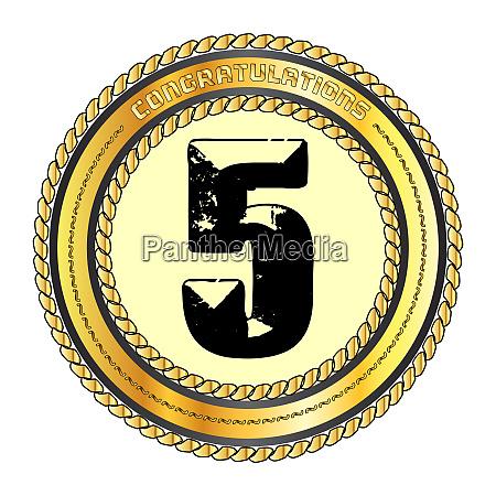 five gold congratulations border