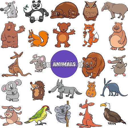 comic wild animal characters large set