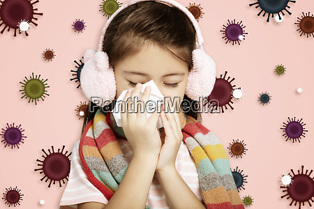 stressed child wearing protection mask against