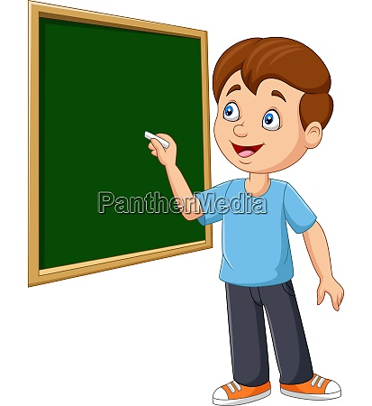 cartoon schoolboy writing on the blackboard