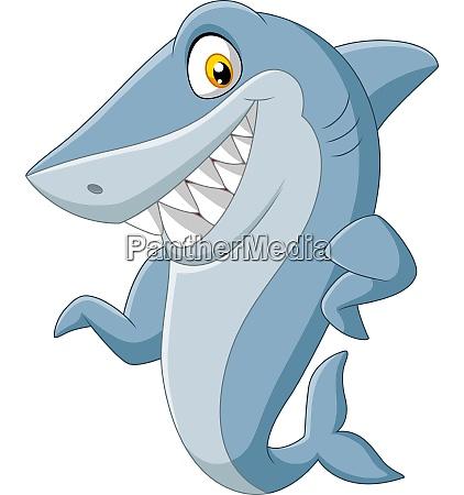 cartoon shark waving on white background