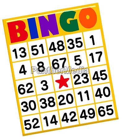 bingo card numbers gambling activity luck