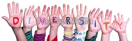 children hands building word diversity isolated